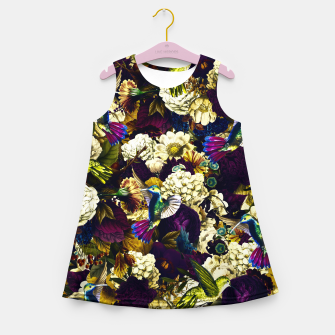 Thumbnail image of hummingbird paradise ethereal autumn flower pattern fn Girl's summer dress, Live Heroes