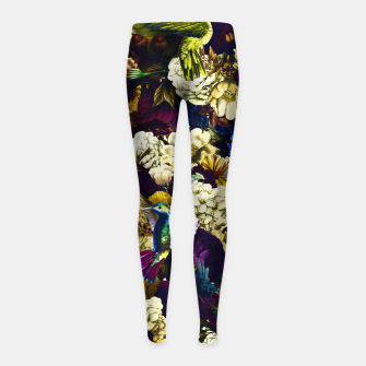 Thumbnail image of hummingbird paradise ethereal autumn flower pattern fn Girl's leggings, Live Heroes