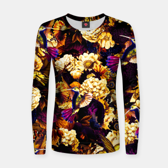 Thumbnail image of hummingbird paradise ethereal autumn flower pattern ls Women sweater, Live Heroes