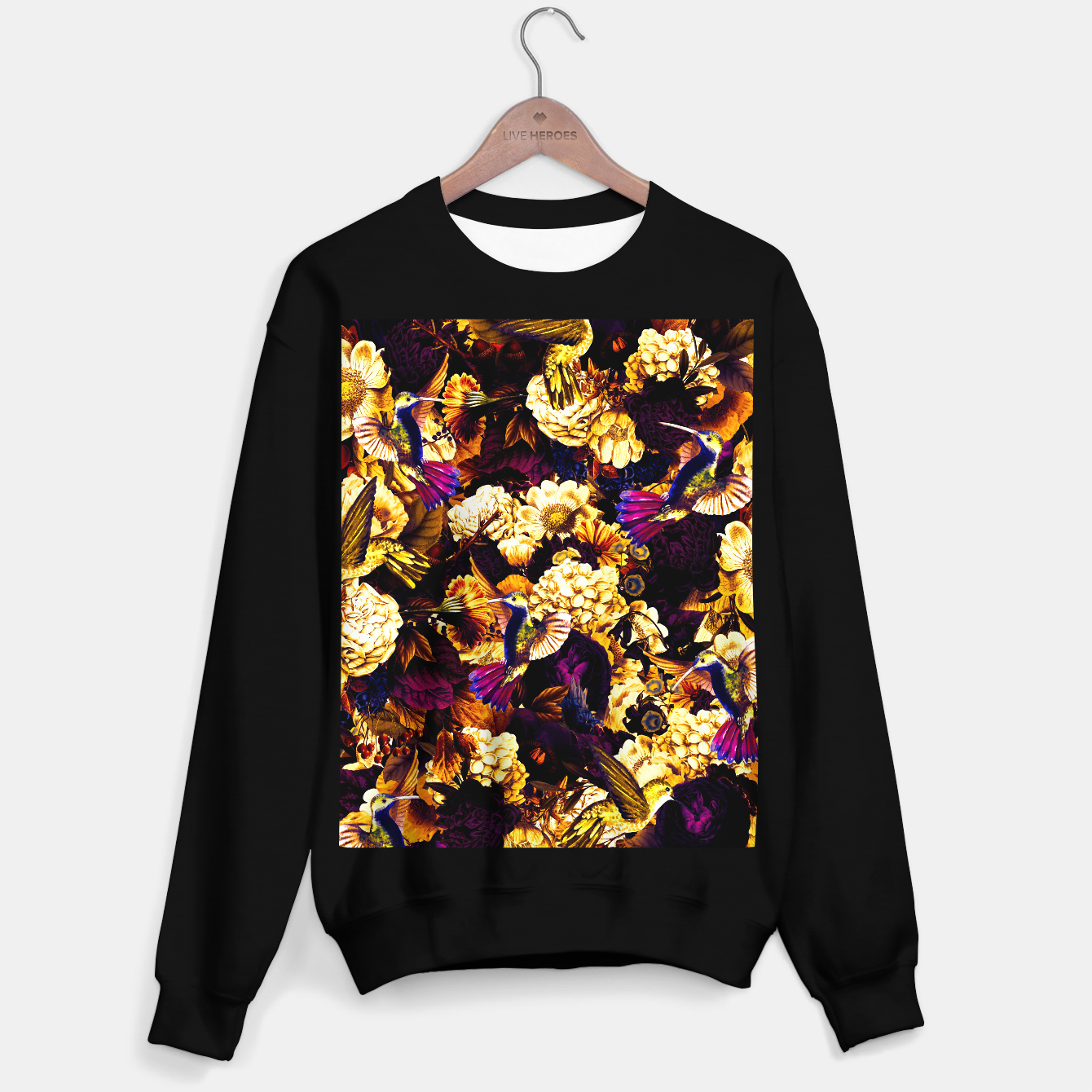 Image of hummingbird paradise ethereal autumn flower pattern ls Sweater regular - Live Heroes