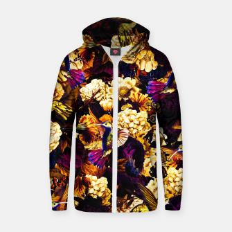 Thumbnail image of hummingbird paradise ethereal autumn flower pattern ls Zip up hoodie, Live Heroes