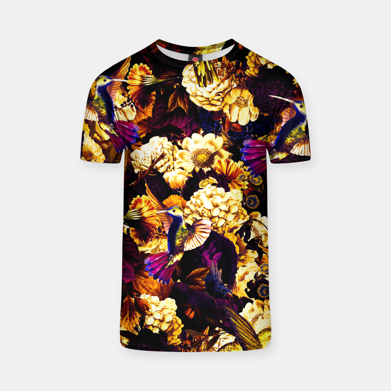 Image of hummingbird paradise ethereal autumn flower pattern ls T-shirt - Live Heroes