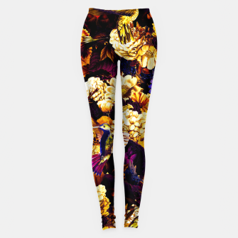 hummingbird paradise ethereal autumn flower pattern ls Leggings thumbnail image