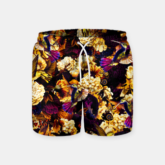 hummingbird paradise ethereal autumn flower pattern ls Swim Shorts thumbnail image