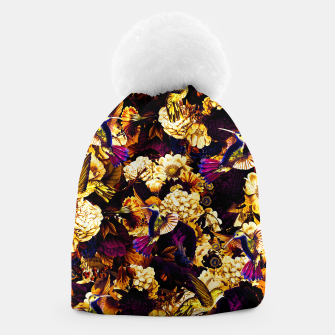 hummingbird paradise ethereal autumn flower pattern ls Beanie miniature