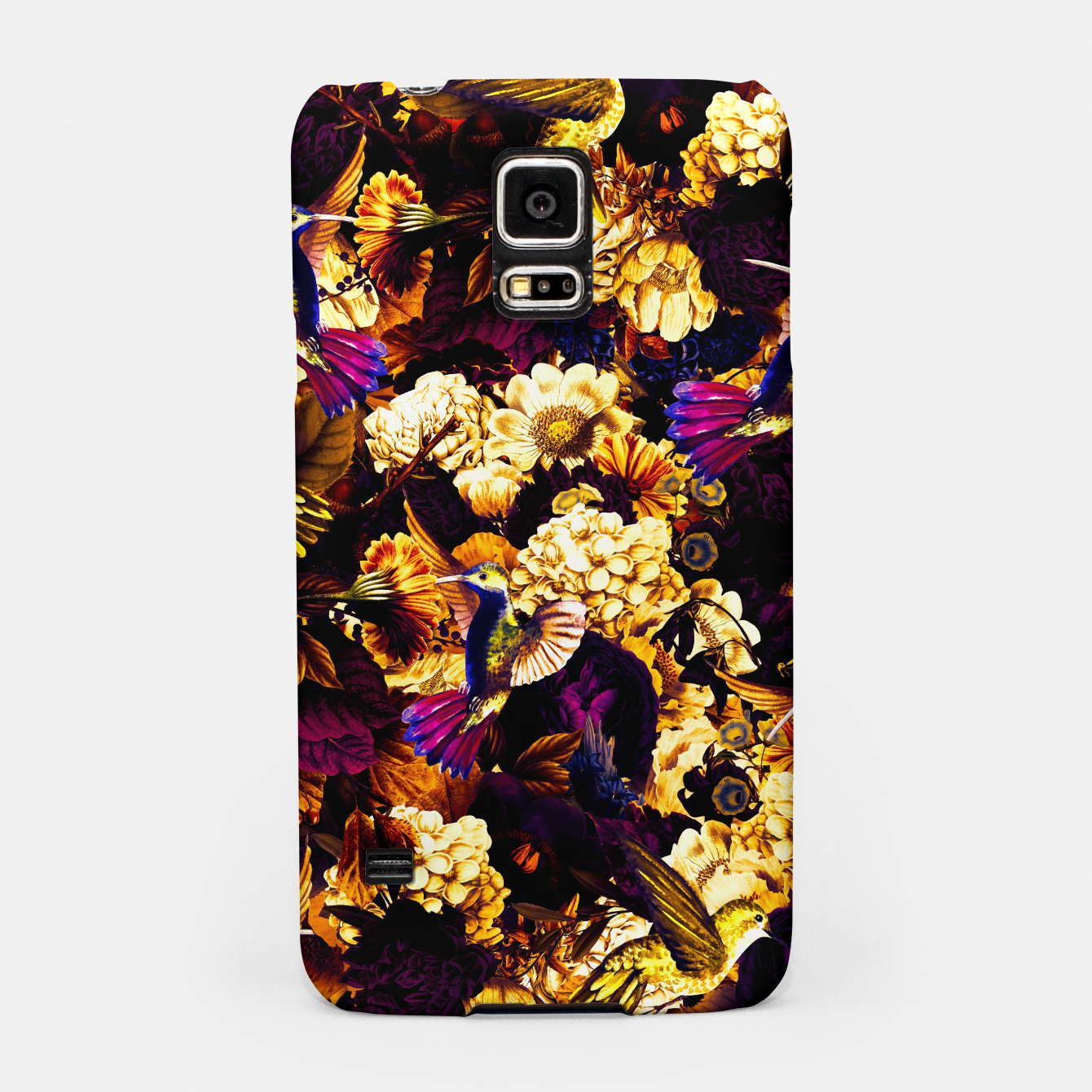 Image of hummingbird paradise ethereal autumn flower pattern ls Samsung Case - Live Heroes