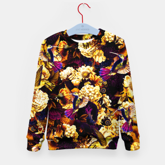 Thumbnail image of hummingbird paradise ethereal autumn flower pattern ls Kid's sweater, Live Heroes