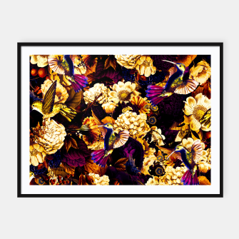hummingbird paradise ethereal autumn flower pattern ls Framed poster miniature