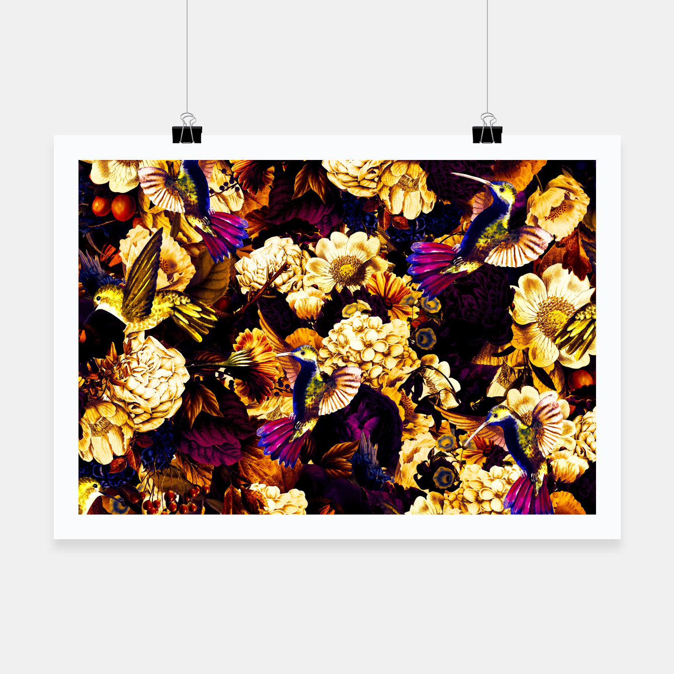 Image de hummingbird paradise ethereal autumn flower pattern ls Poster - Live Heroes