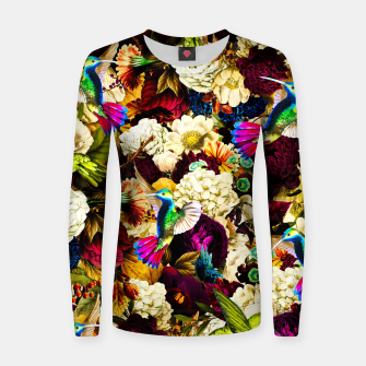 Thumbnail image of hummingbird paradise ethereal autumn flower pattern std Women sweater, Live Heroes