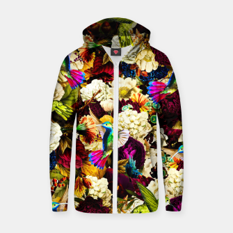 Thumbnail image of hummingbird paradise ethereal autumn flower pattern std Zip up hoodie, Live Heroes