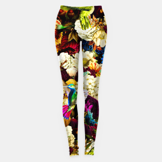 hummingbird paradise ethereal autumn flower pattern std Leggings miniature