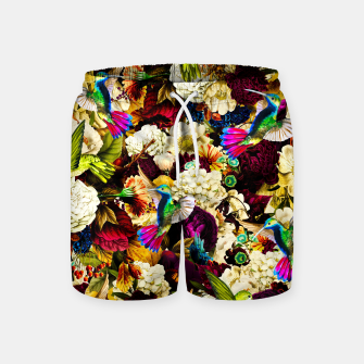 Thumbnail image of hummingbird paradise ethereal autumn flower pattern std Swim Shorts, Live Heroes