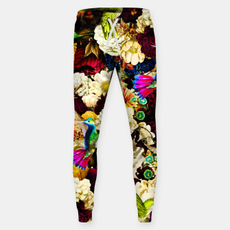 hummingbird paradise ethereal autumn flower pattern std Sweatpants miniature