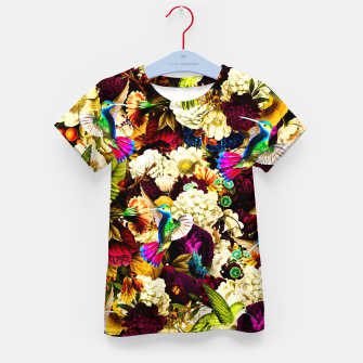 Thumbnail image of hummingbird paradise ethereal autumn flower pattern std Kid's t-shirt, Live Heroes