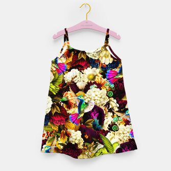 Thumbnail image of hummingbird paradise ethereal autumn flower pattern std Girl's dress, Live Heroes