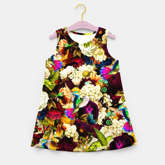 hummingbird paradise ethereal autumn flower pattern std Girl's summer dress miniature