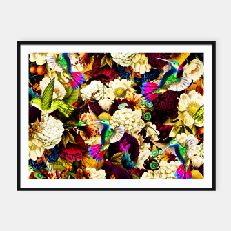 Thumbnail image of hummingbird paradise ethereal autumn flower pattern std Framed poster, Live Heroes