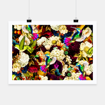 Thumbnail image of hummingbird paradise ethereal autumn flower pattern std Poster, Live Heroes