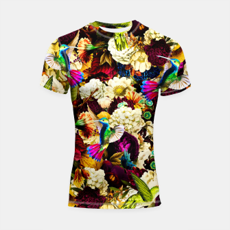 Thumbnail image of hummingbird paradise ethereal autumn flower pattern std Shortsleeve rashguard, Live Heroes