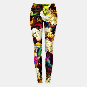 Miniature de image de hummingbird paradise ethereal autumn flower pattern std Leggings, Live Heroes