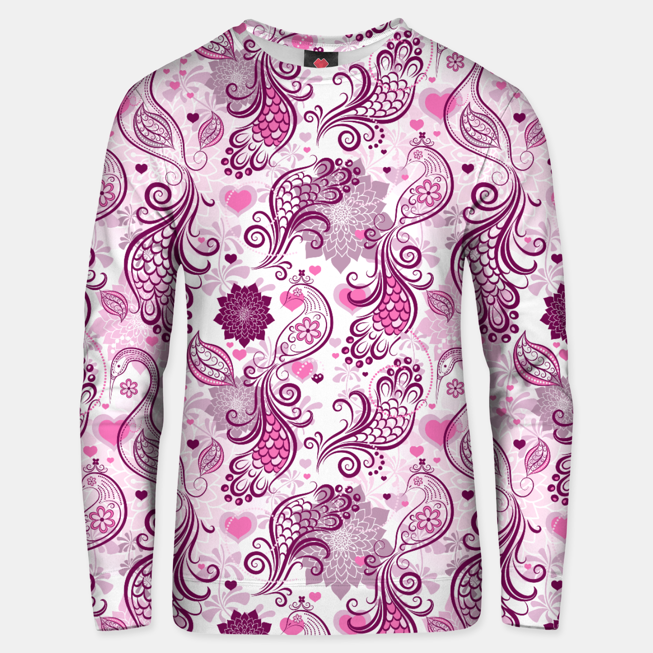 Foto Floral Red Peacock Unisex sweater - Live Heroes