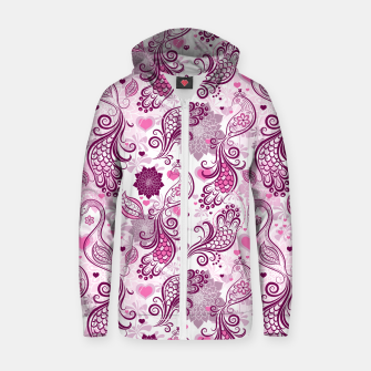 Floral Red Peacock Zip up hoodie Bild der Miniatur