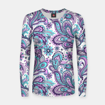 Thumbnail image of Floral Blue Paisley Women sweater, Live Heroes