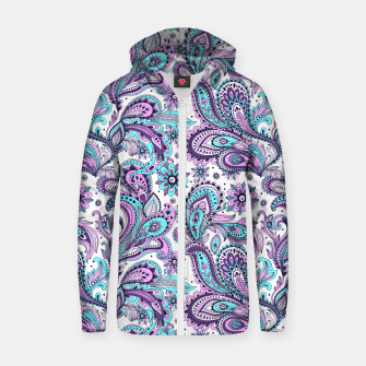 Thumbnail image of Floral Blue Paisley Zip up hoodie, Live Heroes