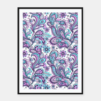 Thumbnail image of Floral Blue Paisley Framed poster, Live Heroes