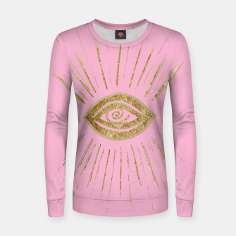Evil Eye Gold on Pink #1 #drawing #decor #art  Frauen sweatshirt miniature