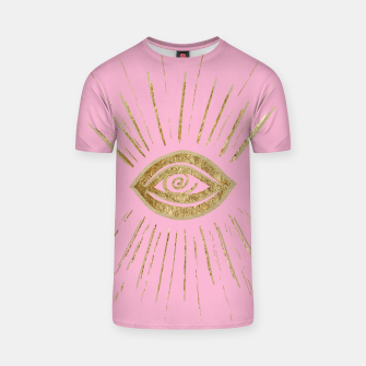 Evil Eye Gold on Pink #1 #drawing #decor #art  T-Shirt miniature