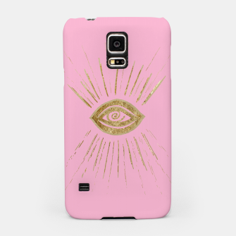 Evil Eye Gold on Pink #1 #drawing #decor #art  Handyhülle für Samsung miniature