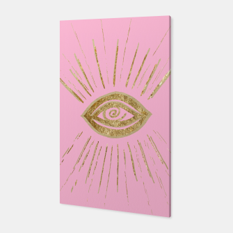 Evil Eye Gold on Pink #1 #drawing #decor #art  Canvas miniature