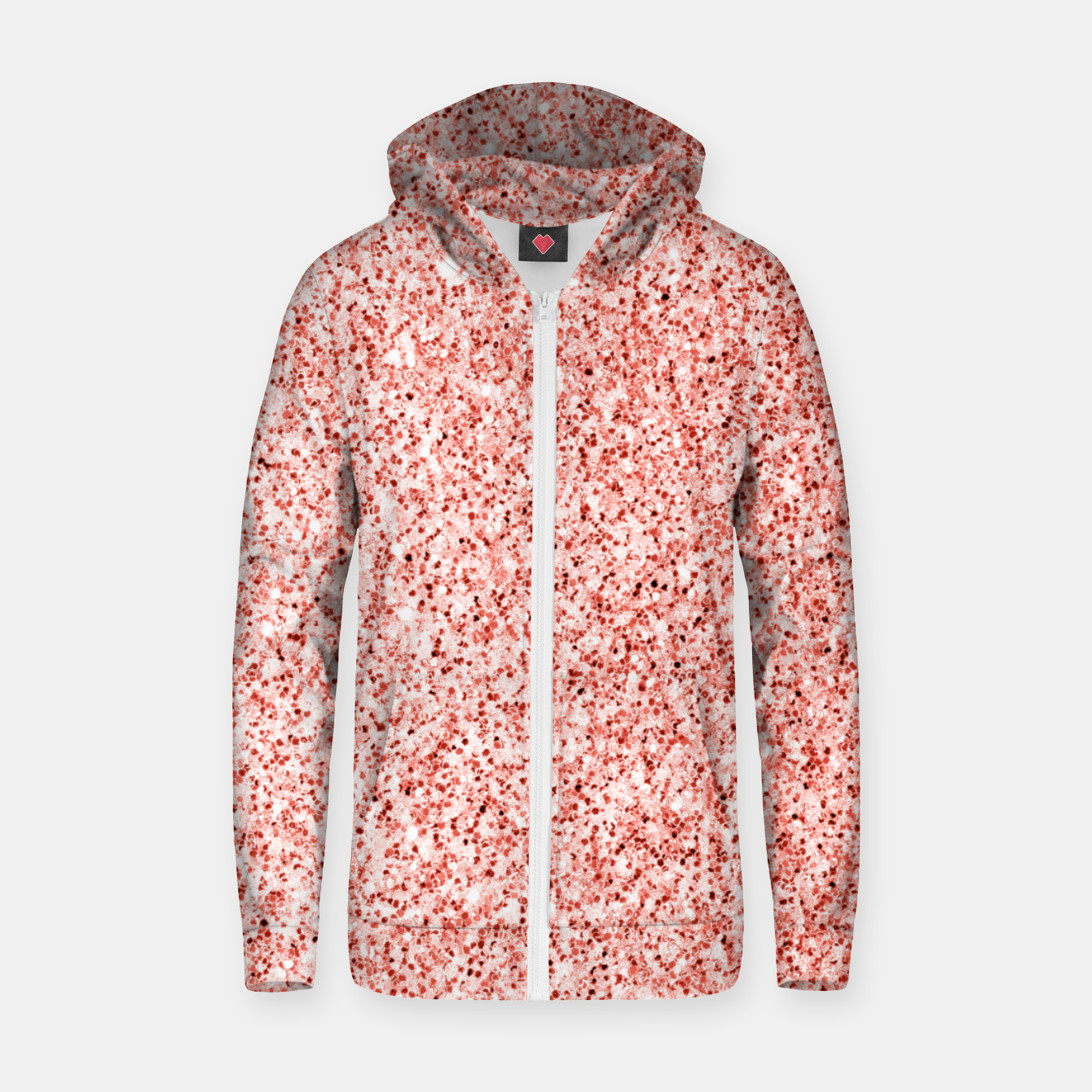 Image of Living coral light glitter Sparkles Zip up hoodie - Live Heroes