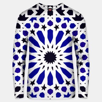 Thumbnail image of Epic Original Blue Moroccan Geometric Artwork. Unisex sweater, Live Heroes