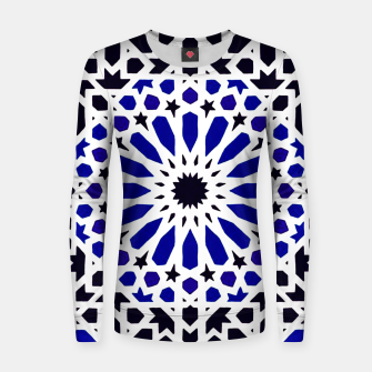 Thumbnail image of Epic Original Blue Moroccan Geometric Artwork. Women sweater, Live Heroes