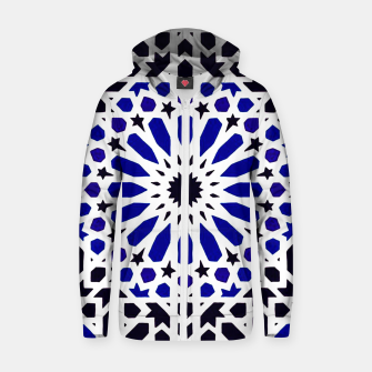 Thumbnail image of Epic Original Blue Moroccan Geometric Artwork. Zip up hoodie, Live Heroes