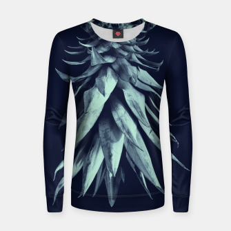 Imagen en miniatura de Navy Blue Pineapple Upside Down #1 #tropical #fruit #decor #art Frauen sweatshirt, Live Heroes