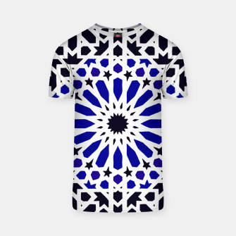 Thumbnail image of Epic Original Blue Moroccan Geometric Artwork. T-shirt, Live Heroes