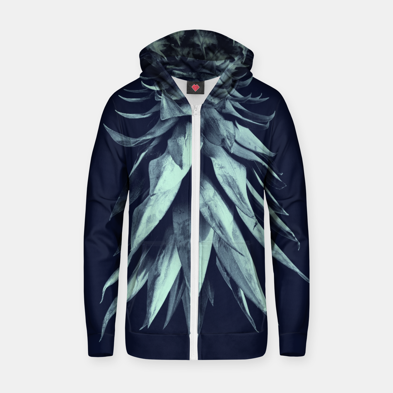 Image de Navy Blue Pineapple Upside Down #1 #tropical #fruit #decor #art Reißverschluss kapuzenpullover - Live Heroes