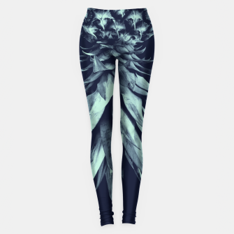 Navy Blue Pineapple Upside Down #1 #tropical #fruit #decor #art Leggings miniature