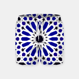 Thumbnail image of Epic Original Blue Moroccan Geometric Artwork. Swim Shorts, Live Heroes