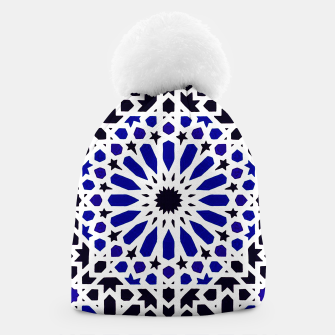 Thumbnail image of Epic Original Blue Moroccan Geometric Artwork. Beanie, Live Heroes