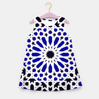 Thumbnail image of Epic Original Blue Moroccan Geometric Artwork. Girl's summer dress, Live Heroes