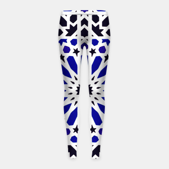 Thumbnail image of Epic Original Blue Moroccan Geometric Artwork. Girl's leggings, Live Heroes