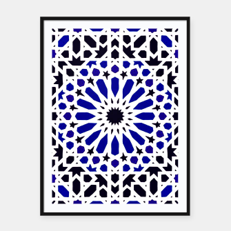 Miniatur Epic Original Blue Moroccan Geometric Artwork. Framed poster, Live Heroes