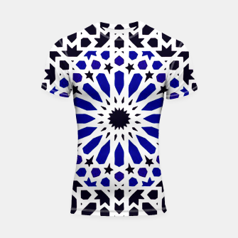 Thumbnail image of Epic Original Blue Moroccan Geometric Artwork. Shortsleeve rashguard, Live Heroes