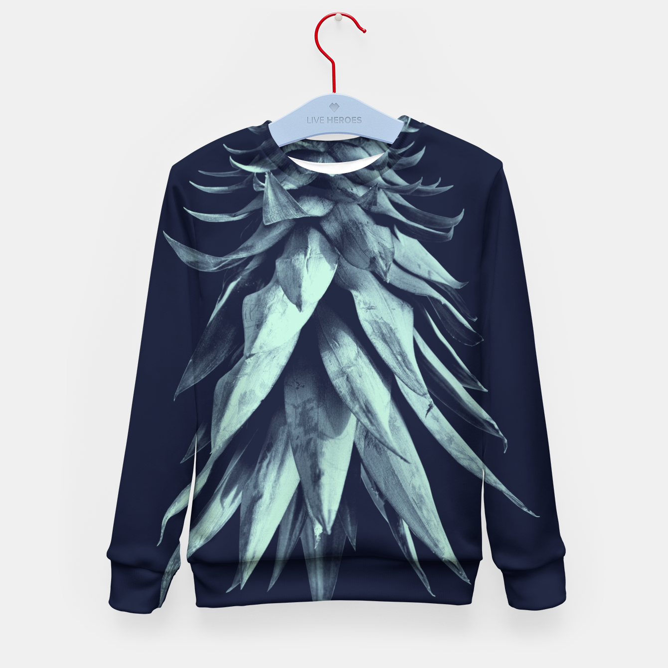 Image de Navy Blue Pineapple Upside Down #1 #tropical #fruit #decor #art Kindersweatshirt - Live Heroes
