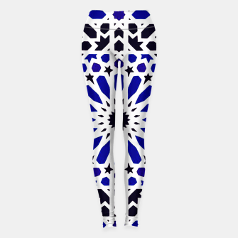 Thumbnail image of Epic Original Blue Moroccan Geometric Artwork. Leggings, Live Heroes
